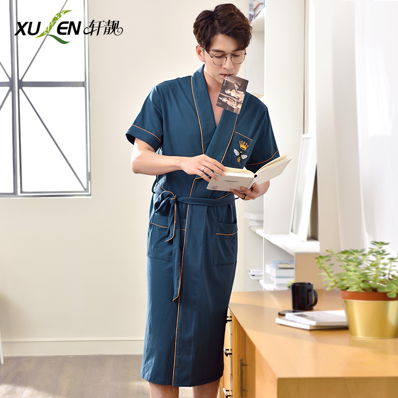 ef86d44be8 Nightgown men s summer cotton thin section large size Japanese yukata  bathrobe summer short-sleeved cotton