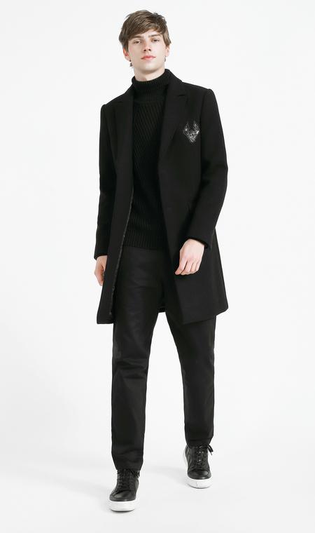 Carbine nam mùa thu và mùa đông dài áo len màu đen Mỏng đơn ngực phù hợp với cổ áo xu hướng áo khoác C