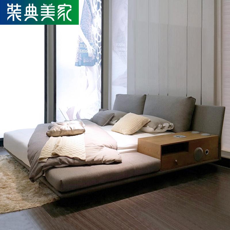 裝典 簡約韓式榻榻米床布藝床日式雙人床1.8M音樂軟包床可拆洗B32