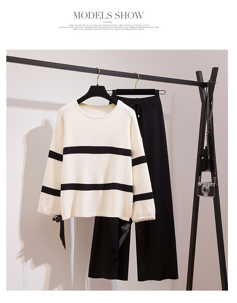 Broad-legged pants set 2020 new women's autumn/winter fashion striped knitted sweater casual pants two-piece set 39 Online shopping Bangladesh