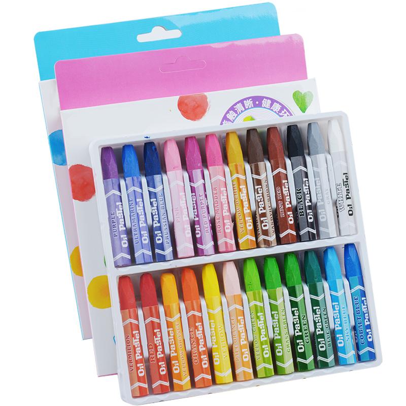 24色油画棒36色48色宝宝蜡笔儿童安全幼儿画笔彩笔腊笔套装色粉笔幼儿园油画笔彩绘棒无毒