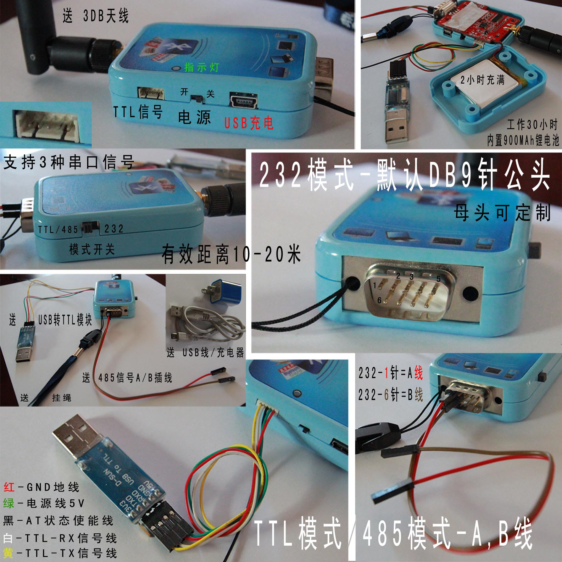 Support Android and Apple one-to-many 30m dual mode Bluetooth 4 0EDR485  serial port Bluetooth 232 serial port TTL