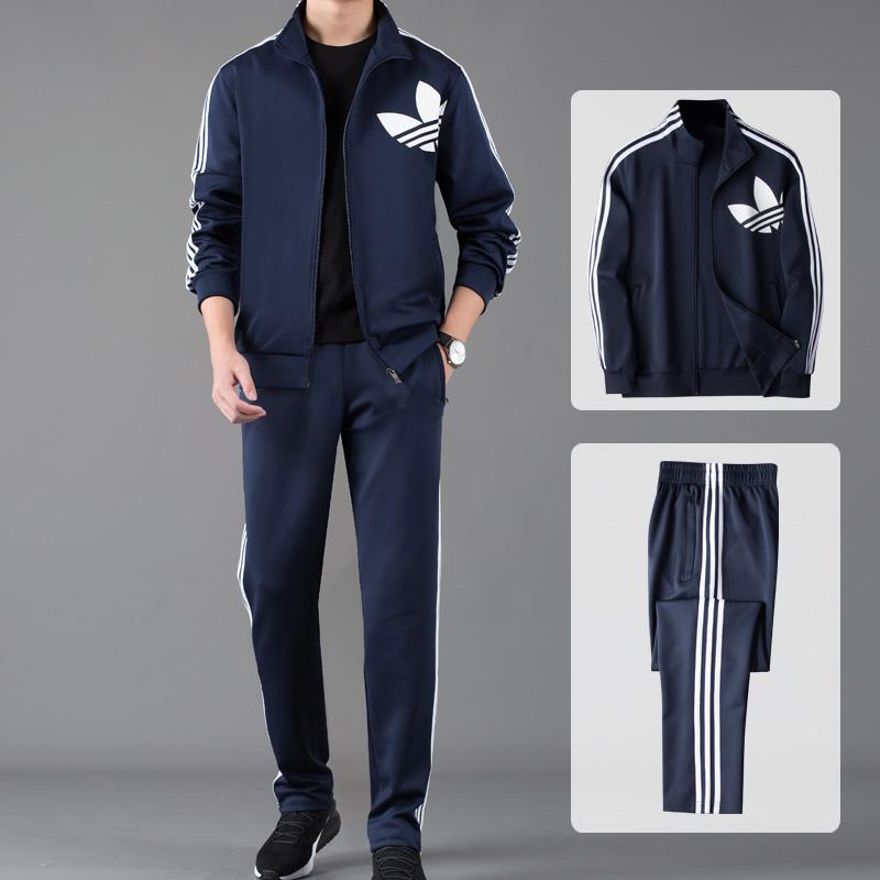 三道杠运动套装男跑步休闲装运动服