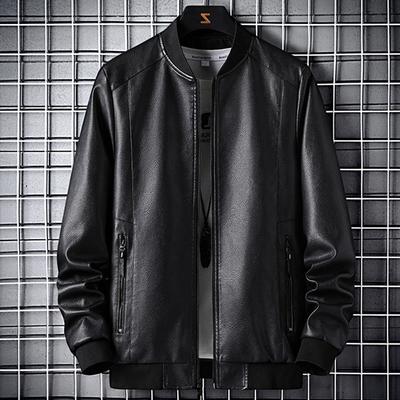 软软的皮衣2021年秋季新款黑色修身痞帅机车皮夹克衫休闲男装外套