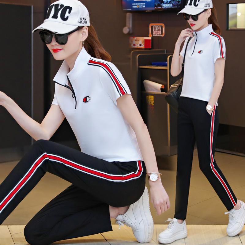 夏季女士短袖运动服卫衣休闲套装女夏天春秋2019新款潮宽松两件套_天猫超市优惠券