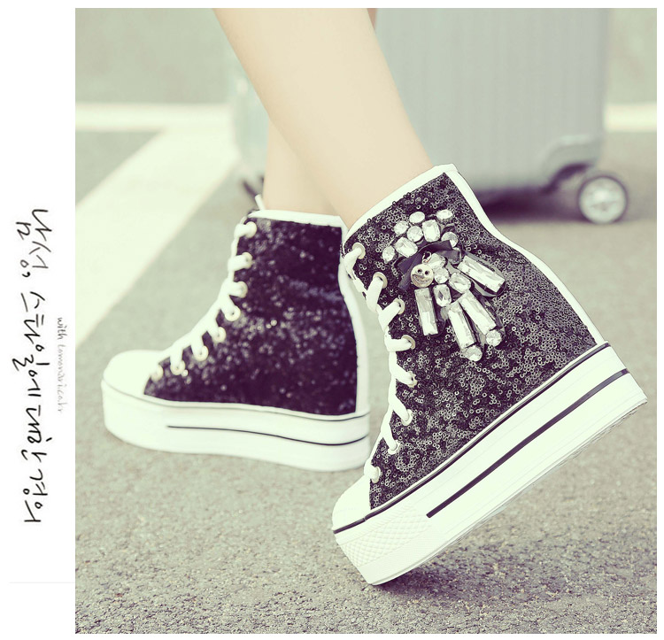 YD-EVER women Casual Shoes platform wedge shoes height increasing super high heel bling diamond crystal sneakers fashion boots 19