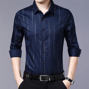 2019春季衬衫男长袖修身商务休闲寸衫韩版潮流帅气男士纯色衬衣潮
