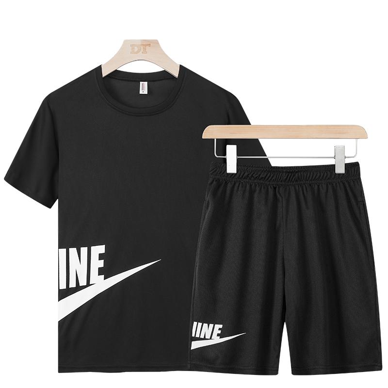 男士运动套装夏季薄款速干透气跑步训练服大码休闲健身潮流两件套