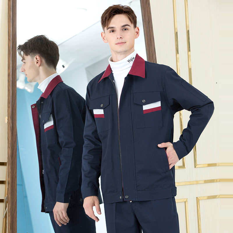 FGA long-sleeved overalls suit men's wear-resistant construction tooling coat decoration labor insurance clothing custom