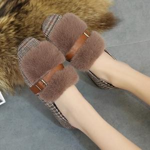 【简缇歌】秋冬款百搭加绒毛毛鞋豆豆鞋