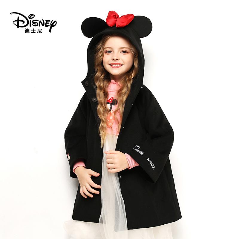 迪士尼女童呢子外套毛呢大衣儿童秋冬加厚新年外套新款洋气呢子潮