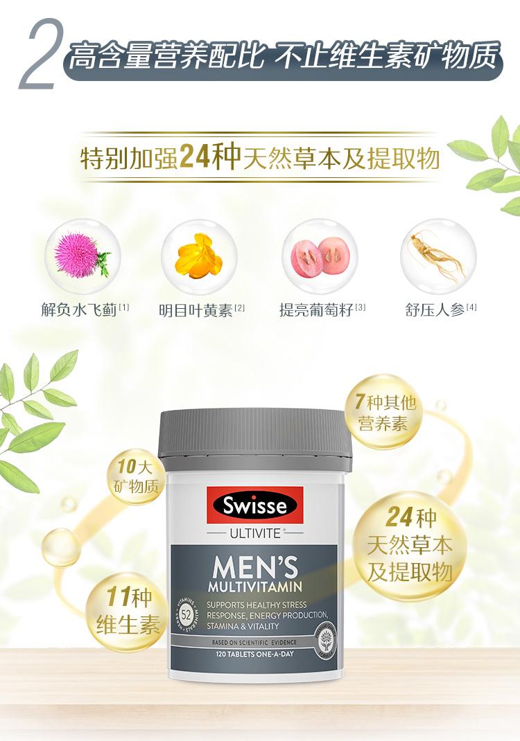 澳洲进口 Swisse 男士复合维生素片 120粒 减压提高抵抗力 图6