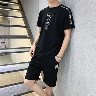 短袖t恤男夏季短裤宽松薄款休闲运动套装