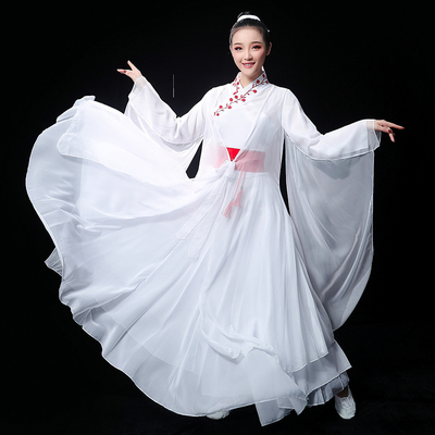 Chinese Folk Dance Costume Classical Dance Garment Han Dress, Chinese Ancient Dress Fairy, Chinese Fengshui Sleeve, Guzheng Performing Dress, Long Skirt for Adults