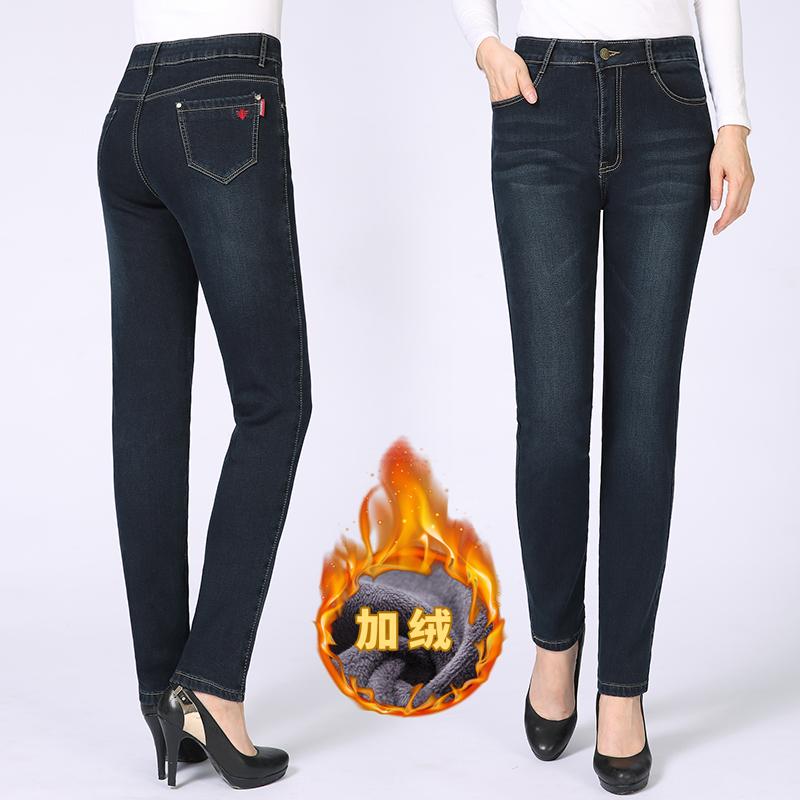 。冬季新款加绒牛仔小脚裤中年妈妈潮流行女装35-40-45-50多岁60