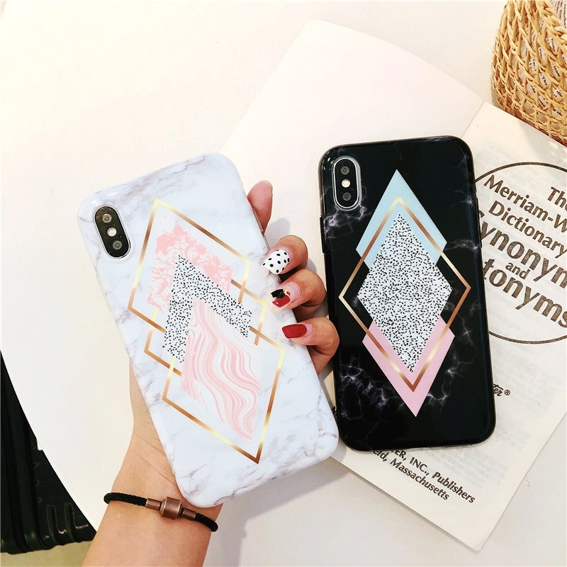 Geometric Marble Case For iPhone X XR XS Max 7 8 Plus
