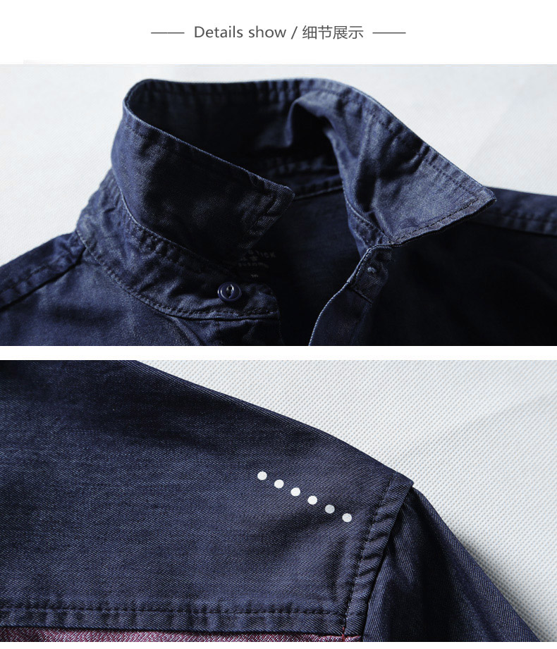 Match Maggie denim long-sleeved men's shirt spring style men's youth top personality hipster men's stitched shirt 2014 41 Online shopping Bangladesh