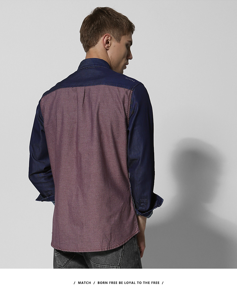 Match Maggie denim long-sleeved men's shirt spring style men's youth top personality hipster men's stitched shirt 2014 38 Online shopping Bangladesh