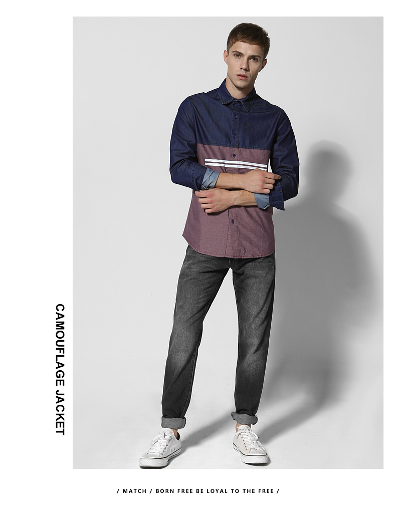 Match Maggie denim long-sleeved men's shirt spring style men's youth top personality hipster men's stitched shirt 2014 34 Online shopping Bangladesh