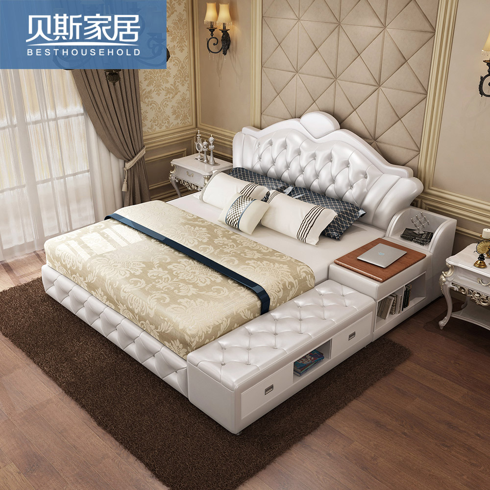 Usd european style tatami bed genuine leather bed for Minimalist bed storage