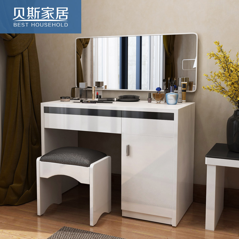 wooden vanity dressing up itm with desk stool mirror table storage make new cushion