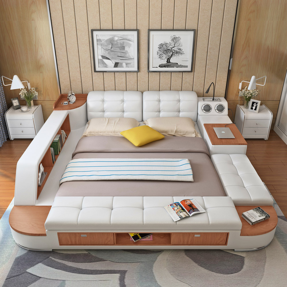 Usd 659 02 Audio Intelligent Bed Master Tatami Bed 1 8 M Double Bed Leather Bed