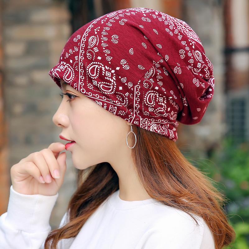 帽子女春夏新品棉包头帽薄韩版孕妇堆堆帽休闲围脖头巾睡帽月子帽
