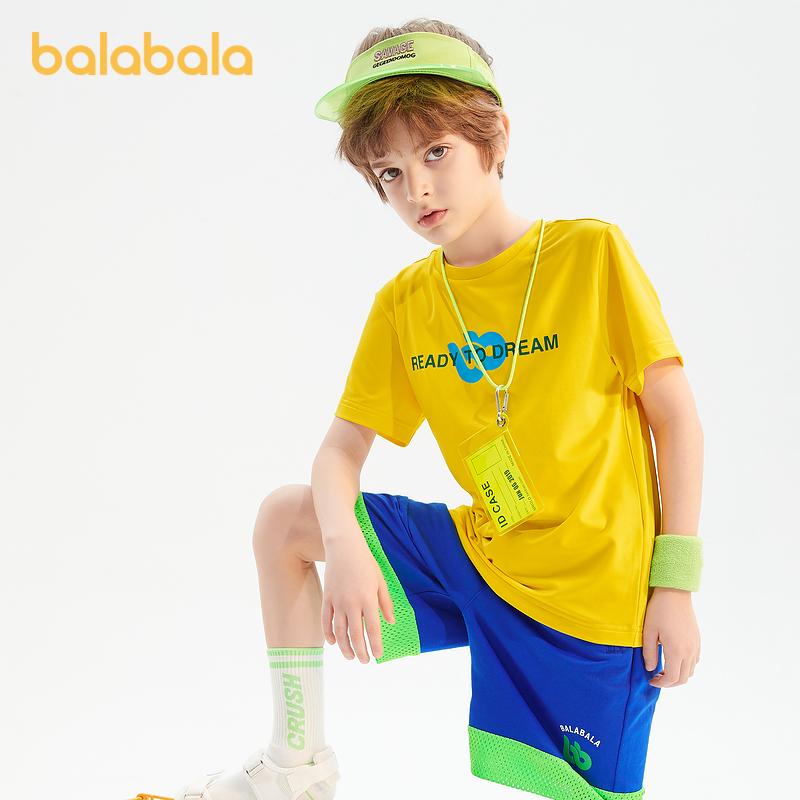 巴拉巴拉男童短袖t恤2021新款夏装吸湿速干儿童打底衫中大童潮酷