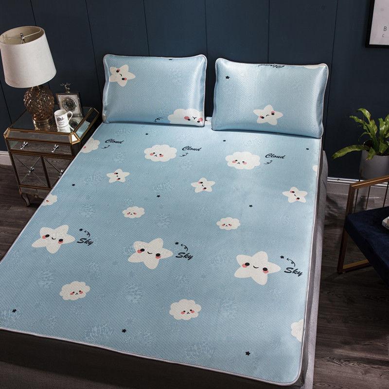 306夏季冰丝凉席1.8米三件套学生清凉宿舍可折叠单人席床垫子