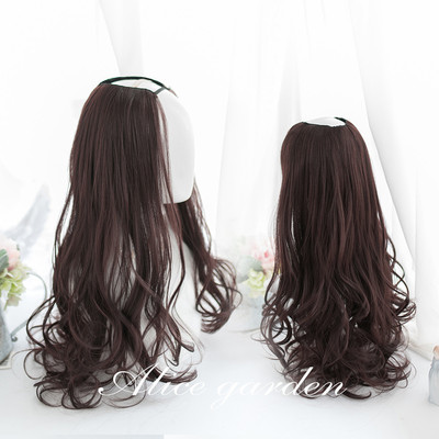 taobao agent Alicegarden Lolita Wig Female Daily One Piece Seamless U-shaped Half Headgear Soft Girl Long Curly Hair