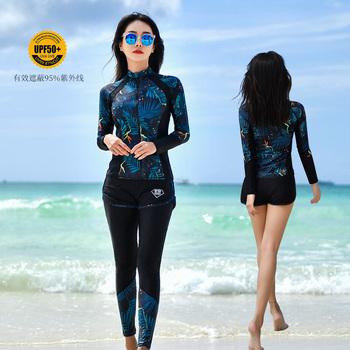 Гидрокостюмы,  Дайвинг женская одежда длинный рукав купальный костюм трещина брюки солнцезащитный крем установите мода накройте живот тонкий корея специальность прибой одежда, цена 3409 руб