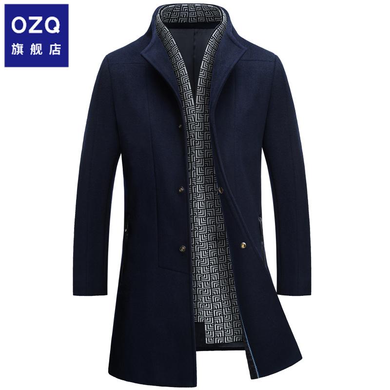 毛呢大衣2019新款冬季男装中长款外套男士韩版潮流羊毛呢子风衣男