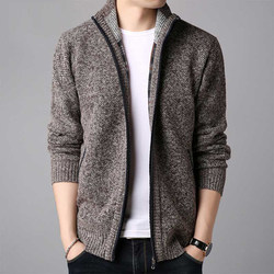 Sweater men 2020 autumn and winter casual knit sweater men Korean version of the trend loose stand-up collar cardigan sweater jacket men