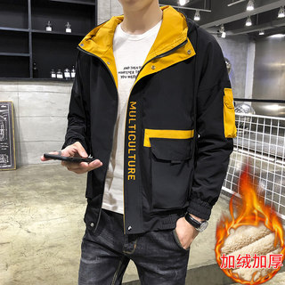 Men's frock coat autumn wind bf loose casual student handsome hooded jacket Korean fashion blazer