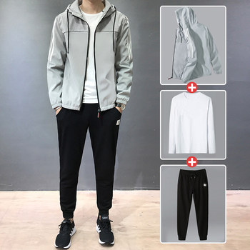 Men's suit jacket Spring 2020 new Korean fashion casual sports jacket male adolescent set of clothes