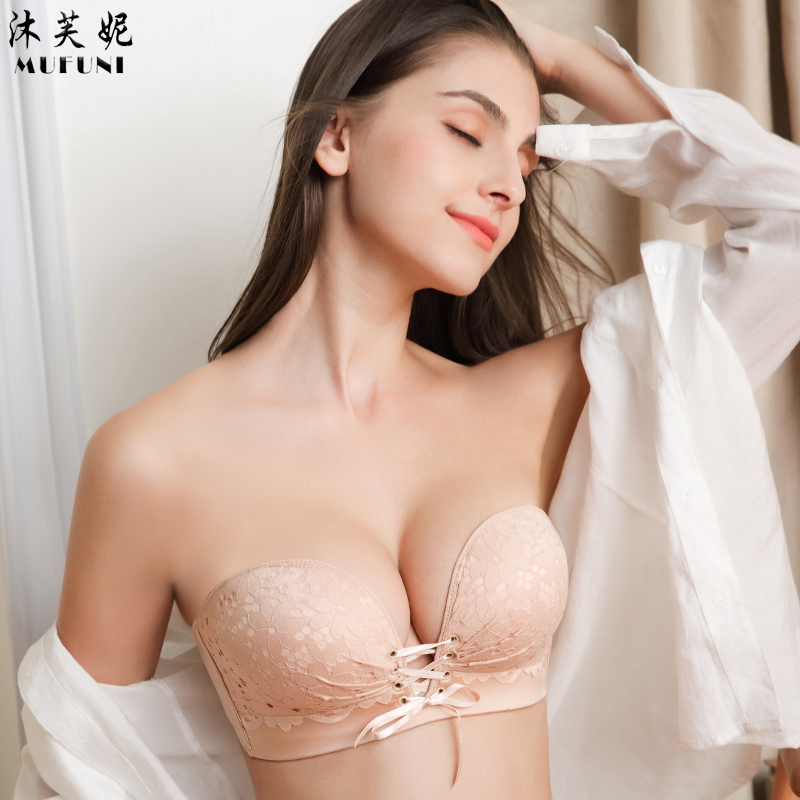 be535531de Strapless underwear women s suit gather non-slip on the small chest  thickened invisible bra half