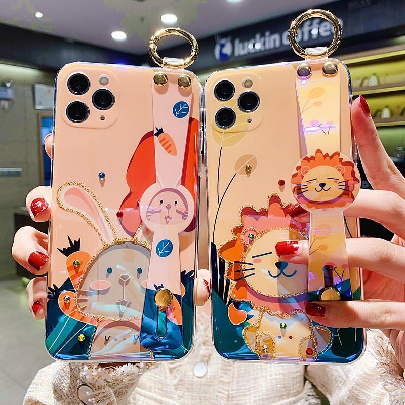 中國代購|中國批發-ibuy99|X30手机壳Y30S9eX50S7X60proS6腕带挂绳可爱狮子适用vivo硅胶