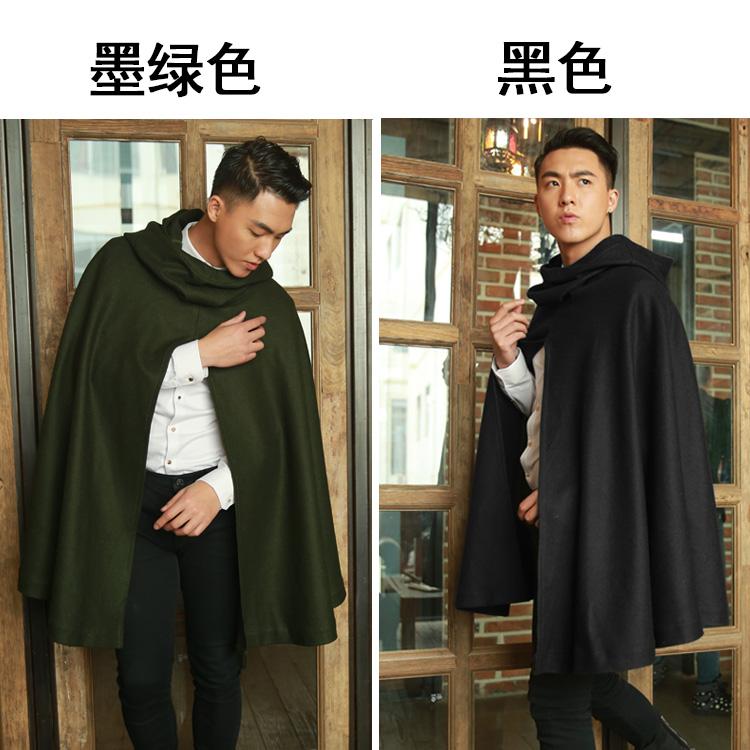 Mùa đông áo len áo choàng nam phần dài lỏng khăn choàng trùm đầu áo gió lười biếng chăn len áo choàng của nam giới áo