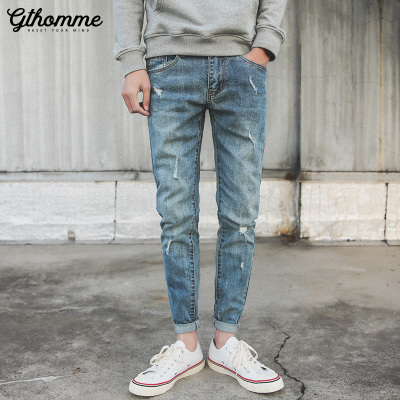 gthomme夏季破洞牛仔裤男潮流新款修身小脚裤青年九分裤