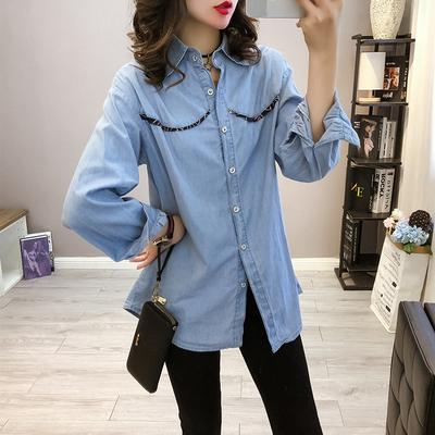 秋装新品长袖衬衫女宽松蝴蝶结系带上衣单排扣学生衬衣潮