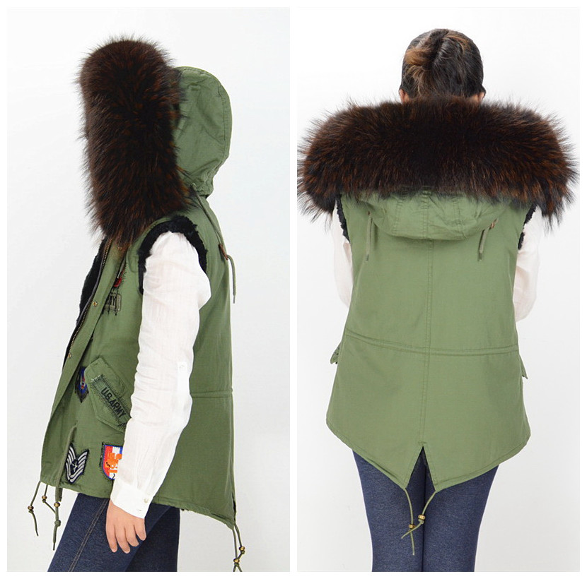 Real Fur Collar Parka Vest Hooded Gilet Green Coat Black Lining ...