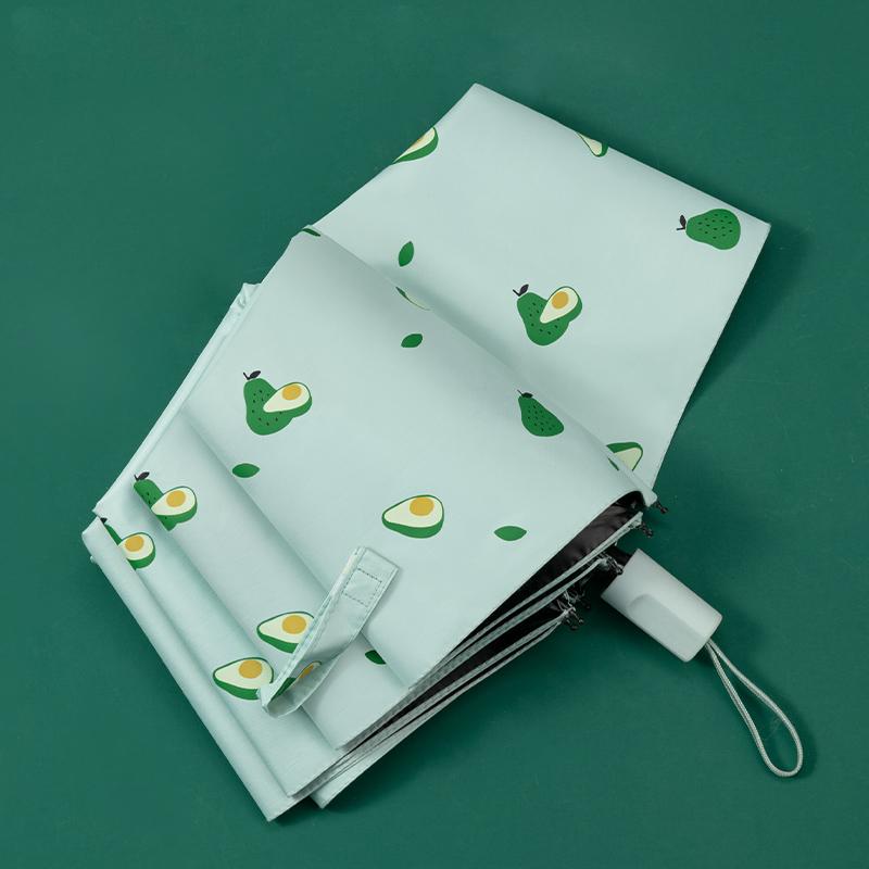 新款牛油果雨傘兩用折疊黑膠防曬防紫外線太陽傘創意小清新晴雨傘