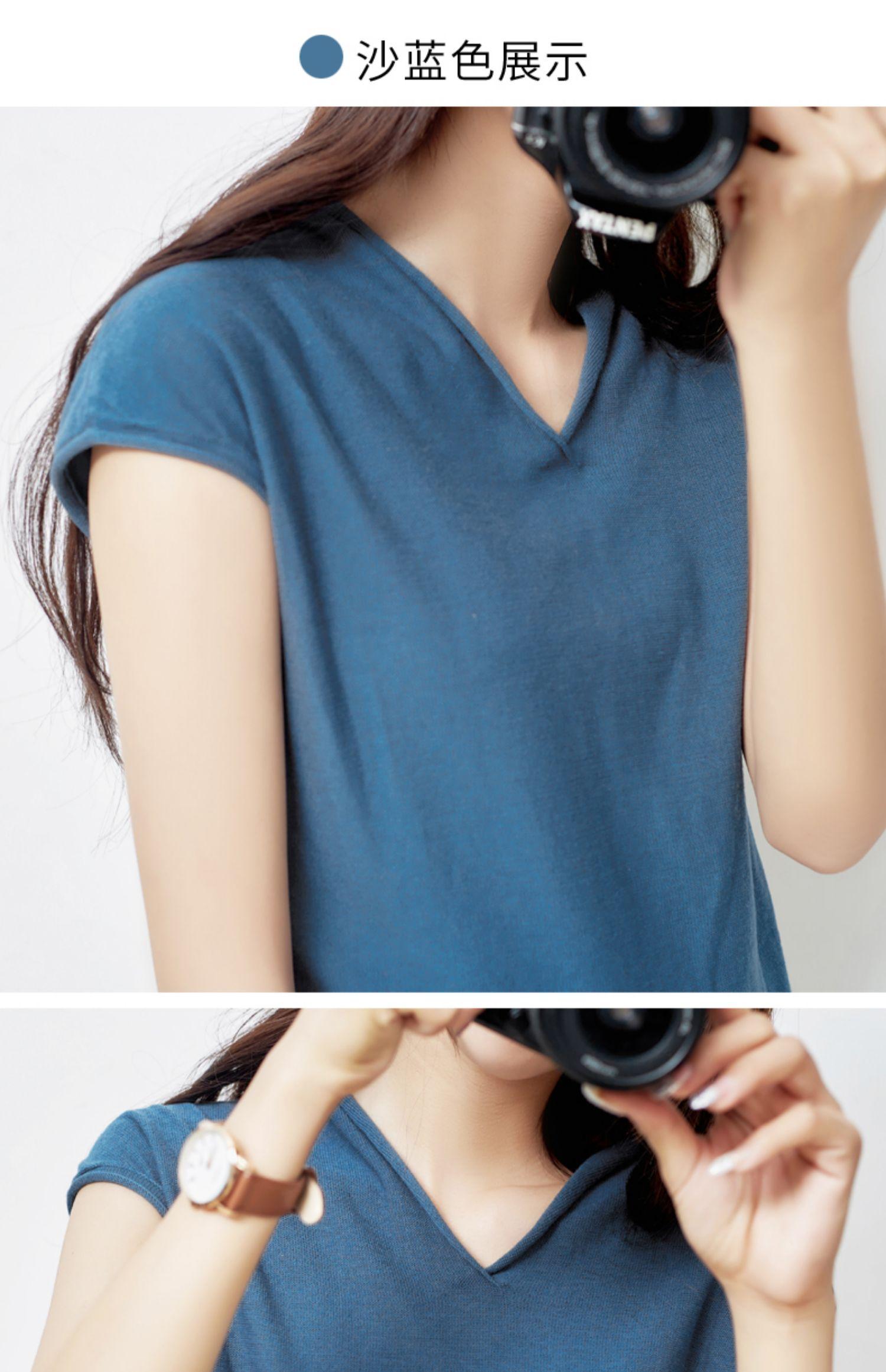 夏季新款!韩版宽松V领短袖针织衫女 27