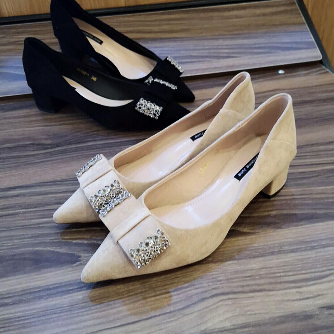 【顺丰包邮春季新款】粗跟绒面小皮鞋黑色单鞋网红尖头鞋高跟鞋女