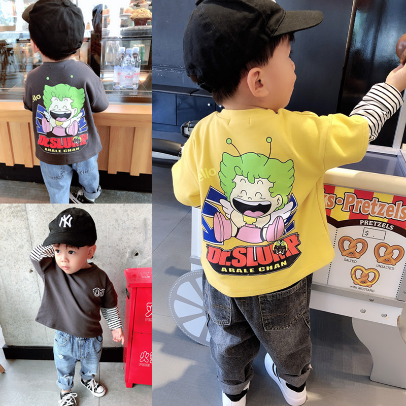 Baby back cartoon print long-sleeved T-shirt 2019 fall boy small and medium-sized boy Korean version loose fake two-piece top.