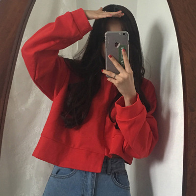 2017 autumn and winter new Hong Kong women's chic irregular short sleeve long sleeve sweater solid color shirt students tide