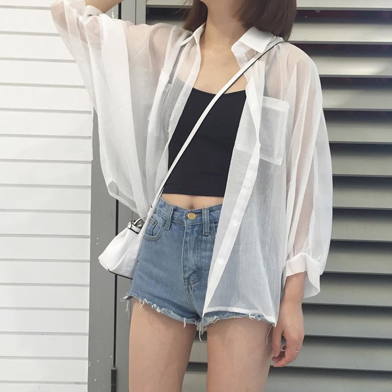 韩国新款女装宽松百搭雪纺衫防晒衣上衣女外搭外套女蝙蝠袖开衫
