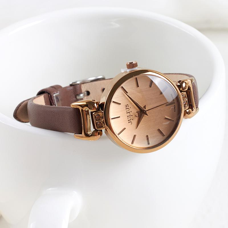 专柜正品聚利时典雅细表带女学生韩版简约石英表真皮手表OL女表
