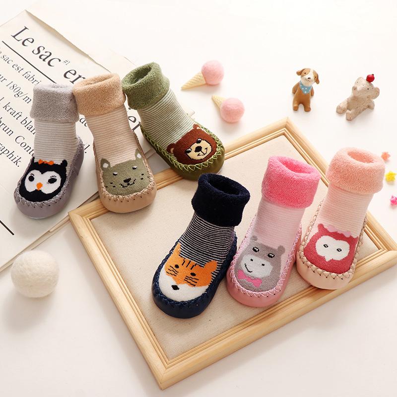 0-3岁宝宝地板袜秋冬毛圈加厚婴儿学步鞋早教袜套儿童防滑袜软底