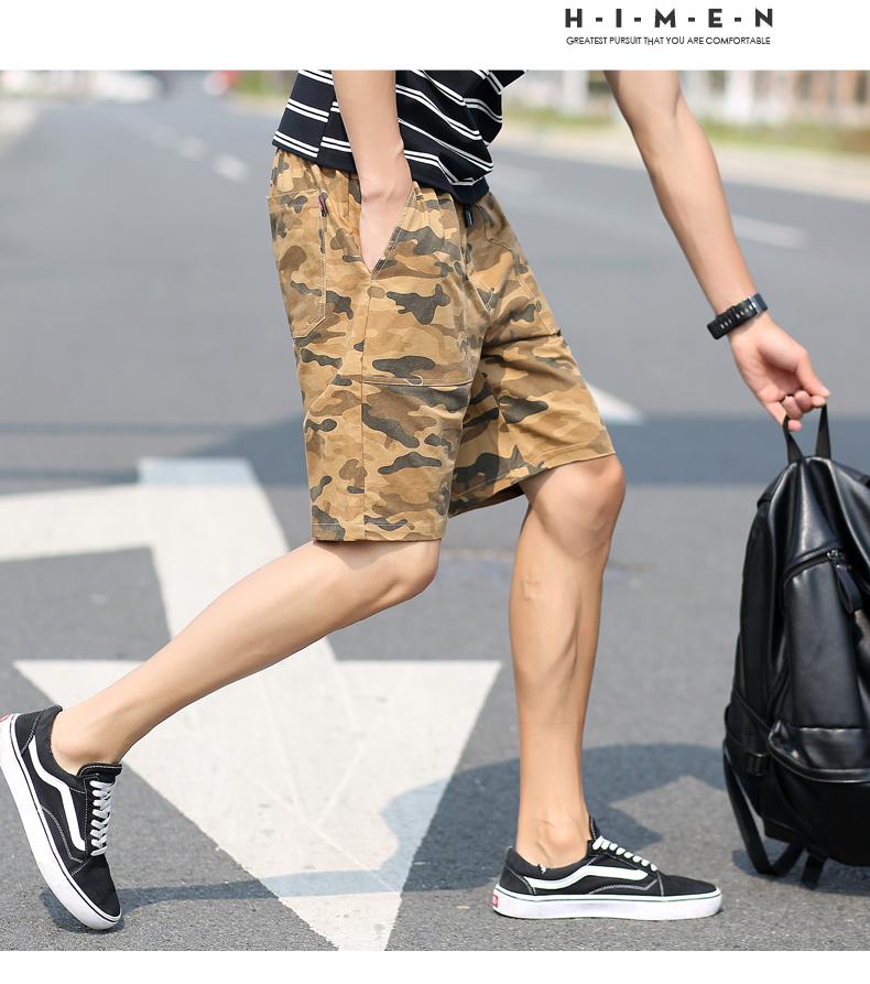 Quần short nam mùa hè mới thể thao giản dị cotton ngụy trang năm điểm quần Hàn Quốc thanh niên đẹp trai thẳng yếm quần